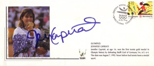 Jennifer Capriati autographed 1992 Olympic tennis gold medal commemorative cachet envelope