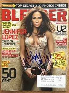 Jennifer Lopez autographed 2005 Blender magazine inscribed With Love
