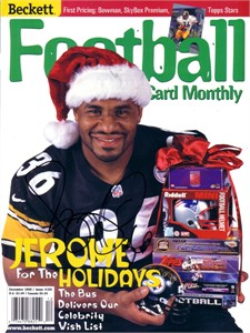 Jerome Bettis autographed Pittsburgh Steelers Beckett Football Santa cover