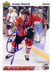 Jeremy Roenick autographed Chicago Blackhawks 1991-92 Upper Deck card