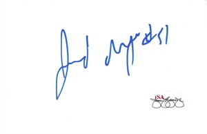Jerod Mayo autographed 3x5 inch index card (JSA)