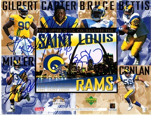 Jerome Bettis Kevin Carter Sean Gilbert Chris Miller autographed 1995 St. Louis Rams Upper Deck card sheet