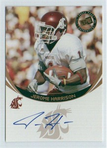 Jerome Harrison certified autograph Washington State 2006 Press Pass card