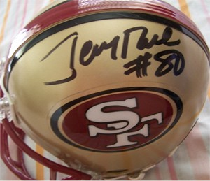 Jerry Rice autographed San Francisco 49ers mini helmet