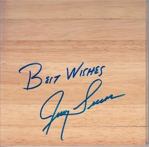 Jerry Lucas autographed basketball hardwood floor inscribed Best Wishes