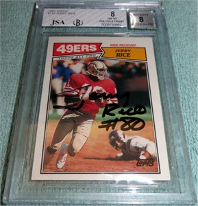 Jerry Rice autographed San Francisco 49ers 1987 Topps card graded BGS 8 (JSA)