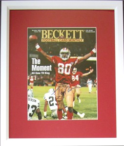 Jerry Rice autographed NFL Touchdown Record San Francisco 49ers Beckett Football magazine cover matted & framed