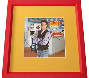 Jerry Seinfeld autographed apartment photo matted & framed