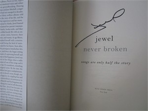 Jewel autographed Never Broken hardcover first edition book