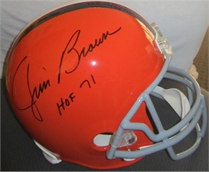 Jim Brown autographed Cleveland Browns throwback jersey inscribed HOF 71 (TriStar)