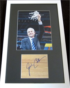 Jim Calhoun autographed floor framed with UConn Huskies 2011 NCAA National Championship 8x10 photo