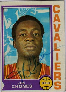 Jim Chones autographed Cleveland Cavaliers 1974-75 Topps card