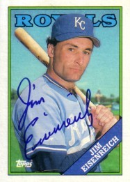 Jim Eisenreich autographed Kansas City Royals 1988 Topps card
