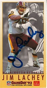 Jim Lachey autographed Washington Redskins 1993 NFL GameDay card