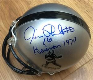 Jim Plunkett autographed Heisman Trophy logo mini helmet inscribed Heisman 1970