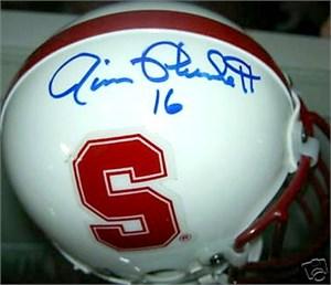 Jim Plunkett autographed Stanford Cardinal mini helmet