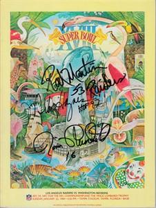 Mike Haynes Rod Martin Jim Plunkett autographed Super Bowl 18 program