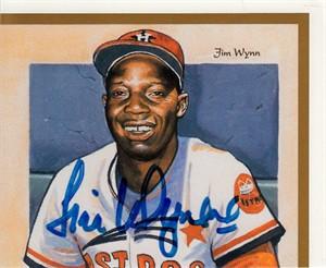 Jim Wynn autographed Houston Astros Upper Deck card sheet cut signature