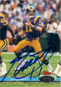 Jim Everett autographed Los Angeles Rams 1991 Stadium Club card