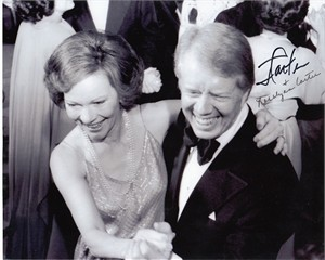 Jimmy Carter & Rosalynn Carter autographed 8x10 black & white inauguration photo (JSA)
