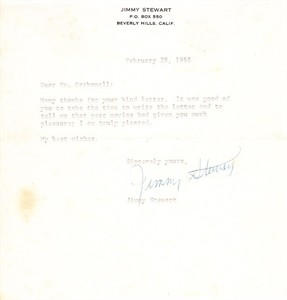 Jimmy Stewart secretarial signed 1968 thank you note on personal stationery