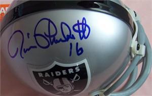 Jim Plunkett & Napoleon McCallum autographed Raiders mini helmet