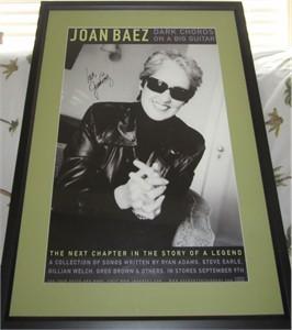 Joan Baez autographed Dark Chords on a Big Guitar poster matted & framed