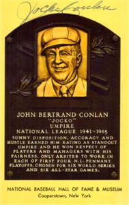 Jocko Conlan autographed Baseball Hall of Fame plaque postcard