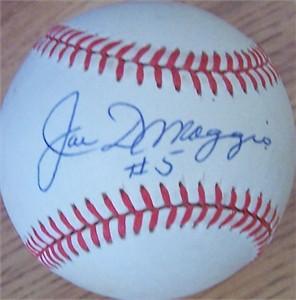 Joe DiMaggio autographed American League baseball inscribed #5