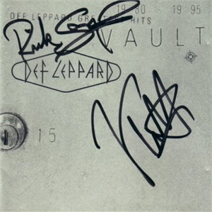 Joe Elliott & Rick Savage autographed Def Leppard Vault CD booklet
