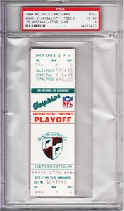 Joe Montana Last NFL Game 1994 Chiefs at Dolphins full unused AFC Playoff ticket graded PSA 4 Vg-Ex