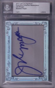 Joe Morgan certified autograph 2012 Leaf Executive Masterpiece Cut Signature card #1/1
