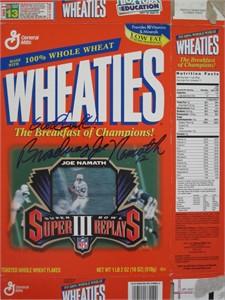 Joe Namath autographed New York Jets Super Bowl III Wheaties cereal box