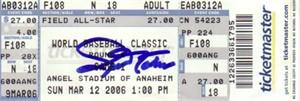 Joe Nathan autographed 2006 World Baseball Classic ticket (JSA)