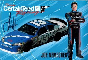 Joe Nemechek autographed NASCAR 8x12 photo card