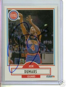 Joe Dumars autographed Detroit Pistons 1990-91 Fleer card