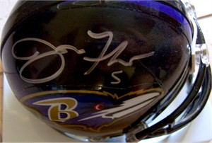 Joe Flacco autographed Baltimore Ravens mini helmet