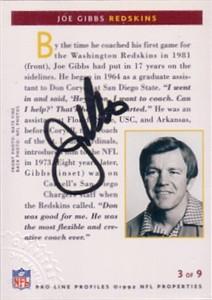 Joe Gibbs certified autograph Washington Redskins 1992 Pro Line card