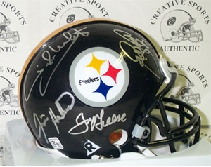 Mean Joe Greene LC Greenwood Ernie Holmes Dwight White (Steel Curtain) autographed Pittsburgh Steelers mini helmet