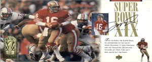 Joe Montana autographed San Francisco 49ers Super Bowl 19 jumbo photo card (UDA)