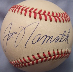 Joe Namath autographed American League baseball