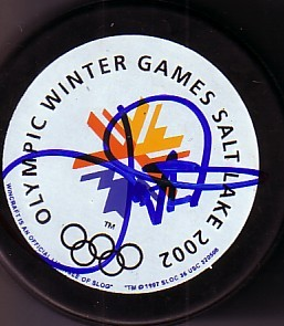 Joe Nieuwendyk autographed 2002 Salt Lake City Olympic puck