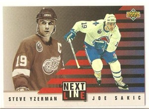 Joe Sakic & Steve Yzerman 1993-94 Upper Deck Next In Line insert card #NL3