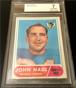 John Hadl San Diego Chargers 1968 Topps card #63 BVG graded 7 NrMt