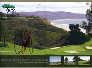John Daly autographed Torrey Pines North golf scorecard