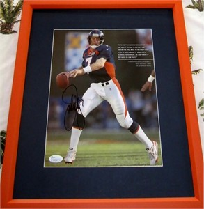 John Elway autographed Denver Broncos full page book photo matted & framed (JSA)