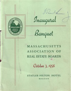 John F. Kennedy (JFK) autographed 1958 banquet program