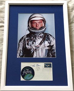 John Glenn autographed 1962 NASA Project Mercury First Day Cover matted & framed with 8x10 photo & Mercury 6 patch