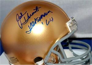 John Huarte autographed Notre Dame Fighting Irish mini helmet inscribed Heisman '64