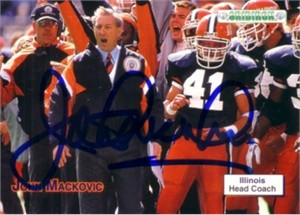 John Mackovic autographed Illinois 1992 Gridiron card